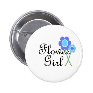 Florista de la margarita azul pin redondo de 2 pulgadas