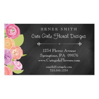Florista de la pizarra y tarjeta de visita floral