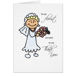 Florista del boda, gracias, palillo figura a la tarjeta de felicitación