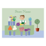 Florista del dibujo animado y tarjetas de visita l
