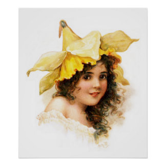 Florista en amarillo póster