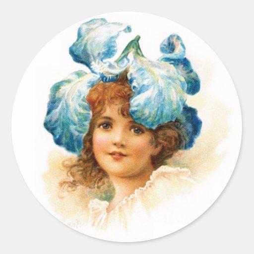 Florista en azul etiqueta redonda