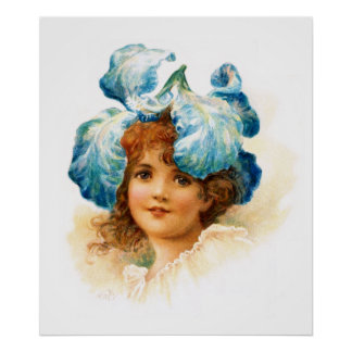 Florista en azul póster