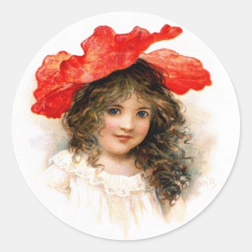 Florista en rojo pegatina redonda