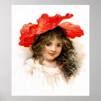 Florista en rojo póster