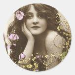 Florista retro del Victorian de las mujeres del Pegatina Redonda