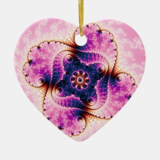 Florivet - arte del fractal adorno navideño de cerámica en forma de corazón