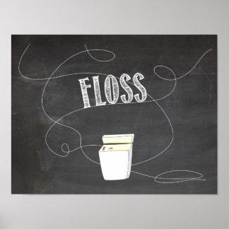 Floss, Bathroom Reminder Print, Chalk Board Paper Poster