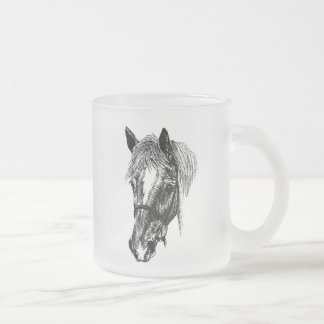 'flossy' horse frosted glass coffee mug