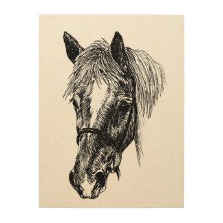 'flossy' horse wood print