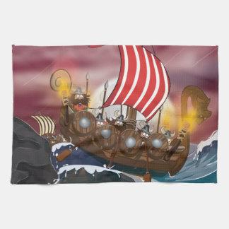 Flota de la invasión de Viking Toalla De Cocina