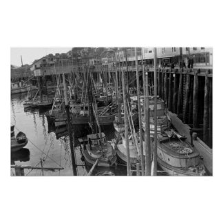 Flota de pesca con cebo de cuchara con cebo de cuc poster