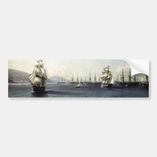 Flota del Mar Negro en la bahía de Theodosia Etiqueta De Parachoque
