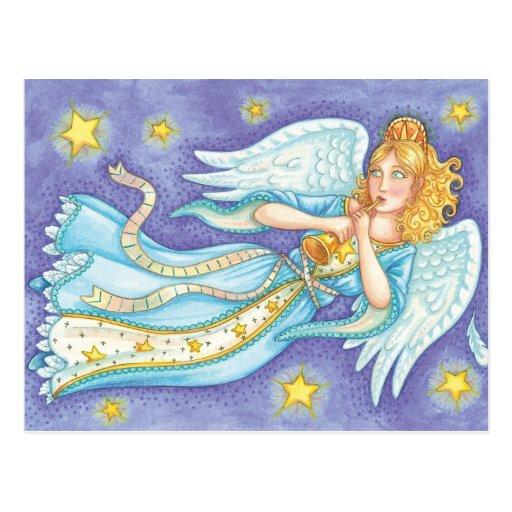 Flotación del ángel del navidad del dibujo animado tarjetas postales