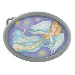 Flotación del ángel del navidad del dibujo hebilla de cinturón oval