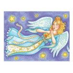 Flotación del ángel del navidad del dibujo tarjetas postales