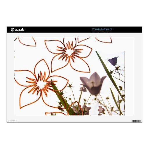 Flotación e hierba de las flores skins para portátil