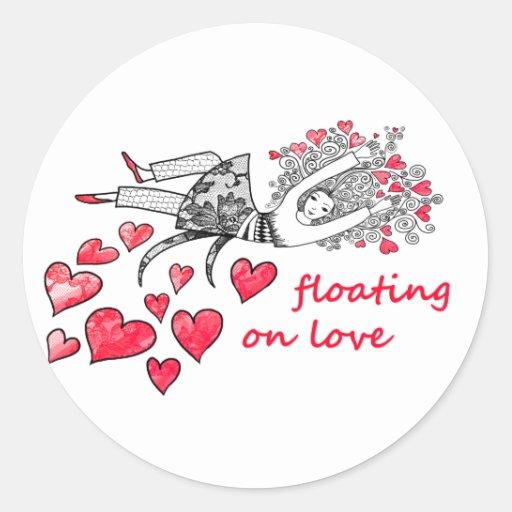 Flotación en amor etiquetas redondas