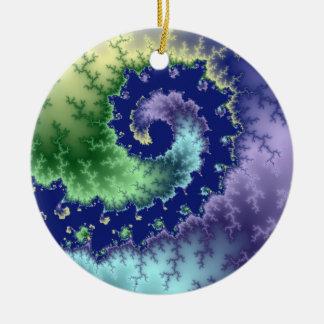Flotación hacia fuera de fractal del navidad adorno redondo de cerámica