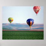 Flotador colorido de los globos del aire caliente  póster