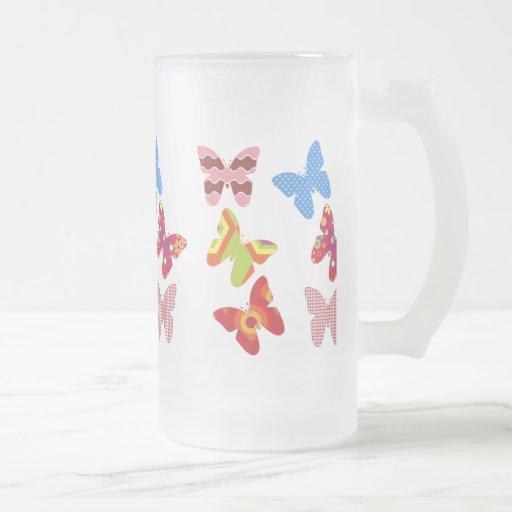 Flotador como una mariposa taza de cristal