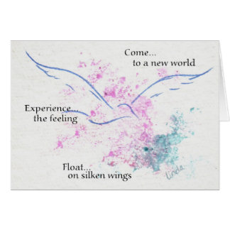 Flotador en las alas de seda tarjeta de felicitación