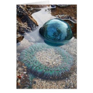 Flotador y anémona de cristal tarjeta de felicitación