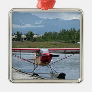 Flote el avión 11, capilla del lago, Anchorage, Adorno Navideño Cuadrado De Metal