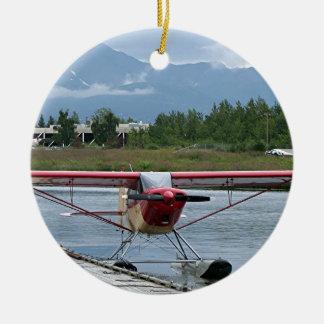 Flote el avión 11, capilla del lago, Anchorage, Adorno Navideño Redondo De Cerámica