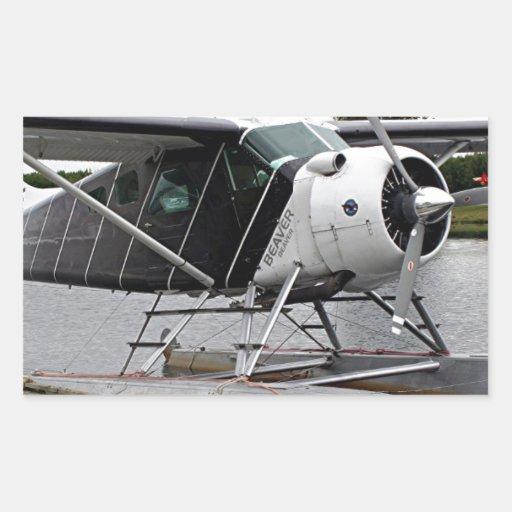 Flote el avión 1, capilla del lago, Alaska, los Pegatina Rectangular
