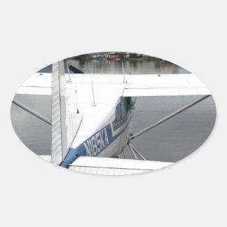 Flote el avión, capilla del lago, Anchorage, Pegatina Ovalada