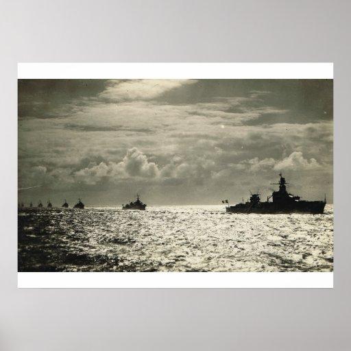 Flotilla francés del acorazado póster