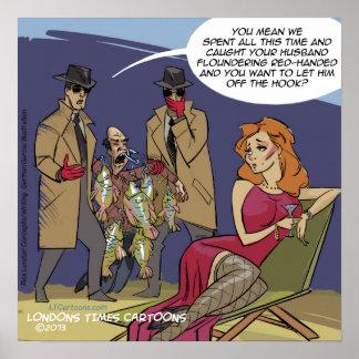Floundering Husbands Funny Poster Poster