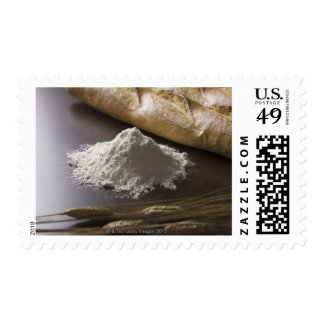 Flour, wheat and bread postage stamp