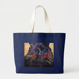 Flourescent black cat large tote bag