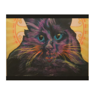 Flourescent black cat wood wall decor