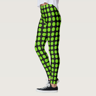 Flourescent Green Polkadots Leggings