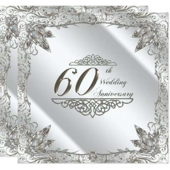 Flourish 60th Diamond Wedding Anniversary Invite Zazzlecom