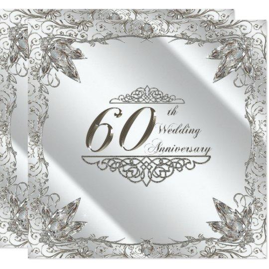 60Th Wedding Anniversary | Flourish 60th Diamond Wedding Anniversary Invite Zazzle Com