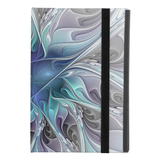 Flourish Abstract Modern Fractal Flower With Blue iPad Mini 4 Case