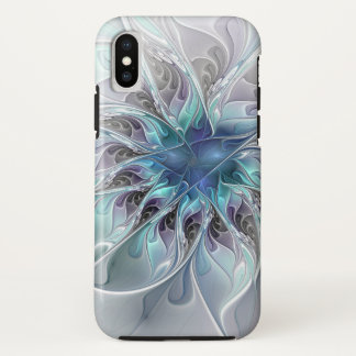 Flourish Abstract Modern Fractal Flower With Blue iPhone X Case