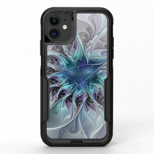 Flourish Abstract Modern Fractal Flower With Blue OtterBox Commuter iPhone 11 Case