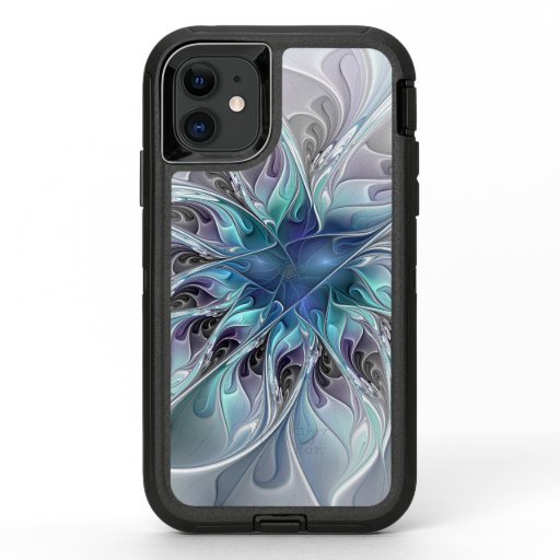 Flourish Abstract Modern Fractal Flower With Blue OtterBox Defender iPhone 11 Case