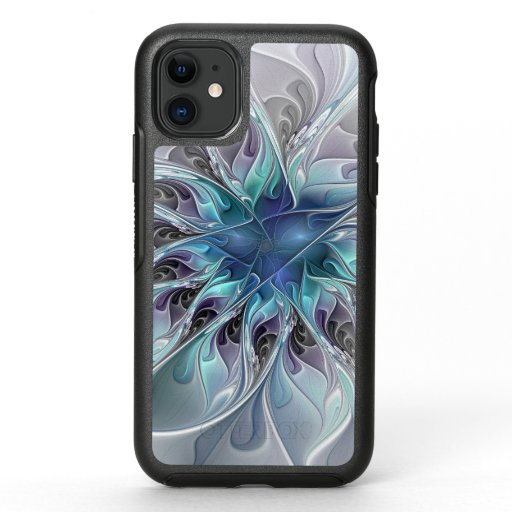 Flourish Abstract Modern Fractal Flower With Blue OtterBox Symmetry iPhone 11 Case