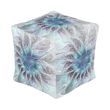 Flourish Abstract Modern Fractal Flower With Blue Pouf