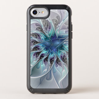 Flourish Abstract Modern Fractal Flower With Blue Speck iPhone Case