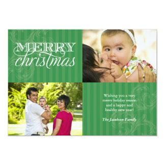Flourish and Stripes Holiday Greeting 5x7 Paper Invitation Card