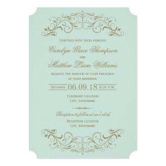 Flourish antiguo del oro de la invitación el | del invitación 12,7 x 17,8 cm