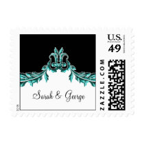 flourish aqua elegant wedding stamps