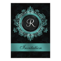 flourish aqua monogram elegant wedding Invitations